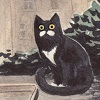 inevitableentresol: drawing of a cat who looks like he's got a mustache, sitting on a roof (Moustache cat by tealin)