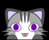 cha0sys: grey cat with purple eyes peering over the bottom edge of the icon (cat, kitten, kittie!)