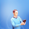 chibimuse: Sheldon in Spock costume looking at tricorder (sheldon)