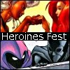 heroines_fest: icon celebrating heroines fest featuring jean grey and storm on top with spoiler and cassandra cain on the bottom (fest: storm/jean and cass/steph)
