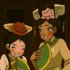 damkianna: A cap of Katara and Toph from Avatar: The Last Airbender, all dressed up. (You're not exactly Lady Fancyfingers.)