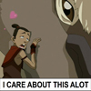 "damkianna: A cap of Sokka and Appa from Avatar: The Last Airbender, with accompanying text: ""I CARE ABOUT THIS ALOT."" (Stuff like that happens to us a lot.)"