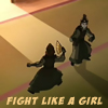 "damkianna: A cap of Suki and Sokka from Avatar: The Last Airbender, in Kyoshi battle dress, with text: ""Fights like a girl."" (You're my prisoner now.)"