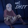 "damkianna: A cap of Aang from Avatar: The Last Airbender, with accompanying text: ""Well, shit."" (Monkey feathers.)"
