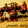 ponds_daily: amy, eleven, rory and river having a picnic captioned 'ponds daily' (Default)