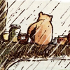turlough: Pooh sitting on a tree branch in the rain with many jars of honey ((pooh) a grey and dreary day)