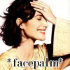 telesilla: carrie-anne moss with her hand on her forehead, text: *facepalm* (ca facepalm)