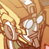 4pxwd: Panel of the Transformers character, Rung, smiling (Pleased)