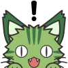 black_cat_hivemind: a green cat showing an excited expression with an exclamation point above its head (cartoon cat)