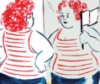 sashajwolf: drawing of fat woman looking in the mirror, her reflection smiling at her and waving a white flag (truce)