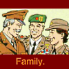masked_merc: Slade, Wintergreen, and Adeline, smiling, text 'family' (era: camp washington)