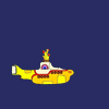 izzy: small yellow submarine on a blue background ([beatles] sailed up to the sun)