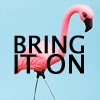 "amalnahurriyeh: XF: Plastic Flamingo from Acadia, with text ""bring it on."" (Default)"