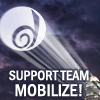 "denise: the DW logo projected against the sky, captioned ""Support team, mobilize!"" (Default)"