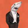 outlineofash: Illustration of a being with a shark's head and a man's body dressed in white-tie wear. Artwork by Matthias Seifarth. (Artwork - Sharkhead)