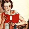 nightdog_barks: 1920s style illustration of a woman reading (Reading modern woman)