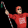 "muccamukk: Matt, arms spread wide, wearing a red shirt that says ""I'm Not Dare Devil"" with a candy-strpe cane with mistletoe on end (Marvel: Not Daredevil)"