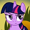 frith: Violet unicorn cartoon pony with a blue mane (FIM Twilight vexed)