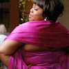 mona: glee's mercedes dancing at prom. photo is taken of her from behind. (mercedes)