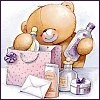 shorina: a Forever Friends teddybear unpacking his shopping from a bag (Shopping)