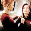 thingswithwings: Seven puts Janeway's pip back on her collar, if you know what I mean (trek - Janeway/Seven pip scene)
