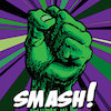 karzilla: a green fist above the word SMASH! (smash)