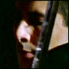 rhi: Methos in profile, a sword along his throat (Methos blue sword)