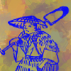 green_knight: Line drawing of japanese peasant farmer on coloured background (Peasant Art)