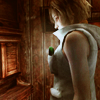 vulpines: heather standing in a confessional. the only light is the light from her flashlight. (trinity reborn)