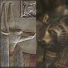 vaalea: Relief of Wepwawet and statue of Bast, half/half icon. (Kemet ~ Bast + Wepwawet)