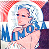 "perla: 30's art deco condom wrapper with a bare shouldered lady, and ""mimosa"" writen which means ""affectionate"" in spanish. (mimosaaa)"