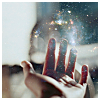 phoenix_feather: a hand with magic glitter coming from the fingertips (Default)
