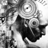 outlineofash: Illustration of a man's head overlaid with nails and gears. (Literature - Cyberpunk)