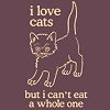 "red_trillium: cartoon cat that says ""I love cats but can't eat a whole one"" (Bow Riser and Sight)"