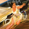 misbegotten: Comic Leia with blaster (SW Leia in the Pulps)
