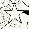 iamshadow: Five pointed star surrounded by shattered glass from the Cap 2 credits. (Glass star)