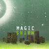 """tinny: a stone henge back lighted in green with the words """"maths"""" and """"magic"""" (librarians_henge maths-magic)"""