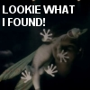 katta: Rex from Primeval seeing Abby, with the caption Lookie what I found! (Primeval Rex, feelings - discovery)