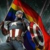 kore: Captain America waves a giant rainbow flag (lovewins)