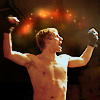 kabal42: Bradley James from Lewis raising his arms in victory after a boxing match (Bradley - Victory)