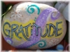 makalove: rock painted with the word 'gratitude' (gratitude)