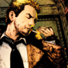 delphi: A crop of comic book character John Constantine, rumpled and smoking. (john constantine)