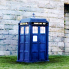 skieswideopen: The TARDIS, bright blue against a grey wall and green grass (Doctor Who: TARDIS)