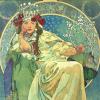 misbegotten: Alphonse Mucha's Princess Hyacinth on a throne (Art Mucha Hyacinta)