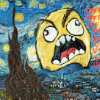 "vulpines: Van Gogh's ""Starry Night"" repainted with a yellow cartoon face raging on it. (a job to do 