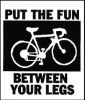 "aedifica: Drawing of a bicycle with the logo ""Put the fun between your legs."" (Bike fun)"