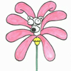 rosefox: A cartoon flower with a monkey's head coming out of it. (surreal)