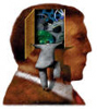rosefox: A man's head with a panel open to show gears, and another man looking inside. (introspective, examined head)