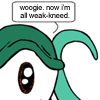 "rosefox: A tentacle monster saying ""woogie. now i'm all weak-kneed."". (touched, faint)"