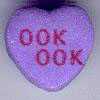 "rosefox: A candy heart that says ""Ook ook"". (shared brains)"